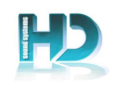 The poorly designed logo for HD Sound Systems uses many of the design elements mentioned above (albeit quite badly). It suffers from having too heavy a gradient and too many text effects. It won't resize well and it won't print well