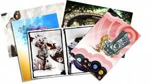 Postcard examples that have been used by artists and designers for self- promotion.
