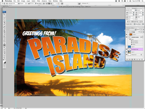Create a Simple Holiday Postcard in Photoshop- using the Clipping Mask, Warp Tool, and other Text Effects!