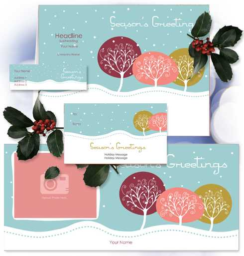 Customize this elegant seasonal design with text and photo - create personalized address labels, gift tags, greeting cards, and photo cards