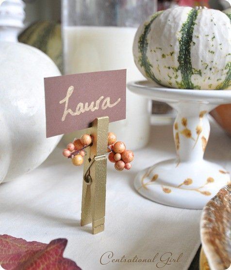 Clothespin Thanksgiving table card holder