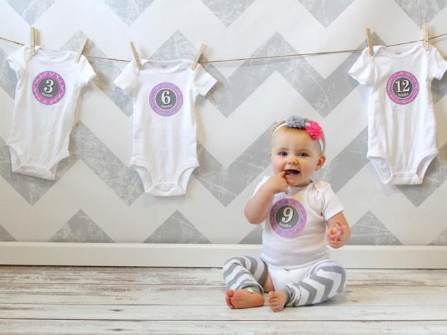Baby monthly onesies