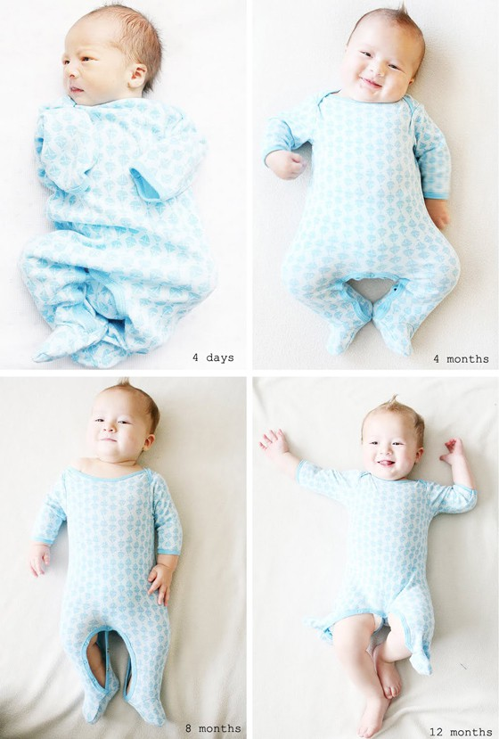 Baby outgrowing onesie
