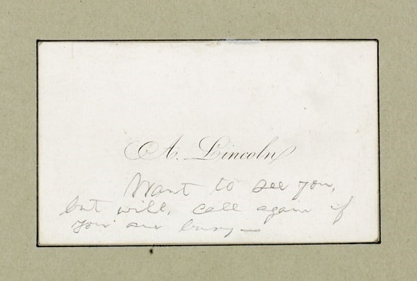 Abraham Lincoln calling card