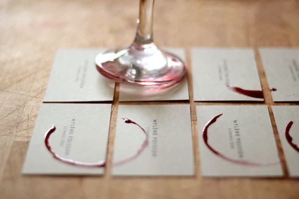 Wineglass stamp business card