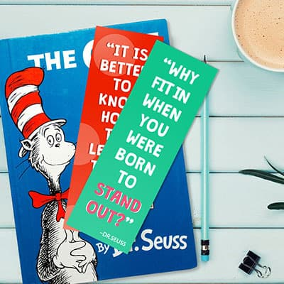 Dr Seuss themed motivational bookmarks