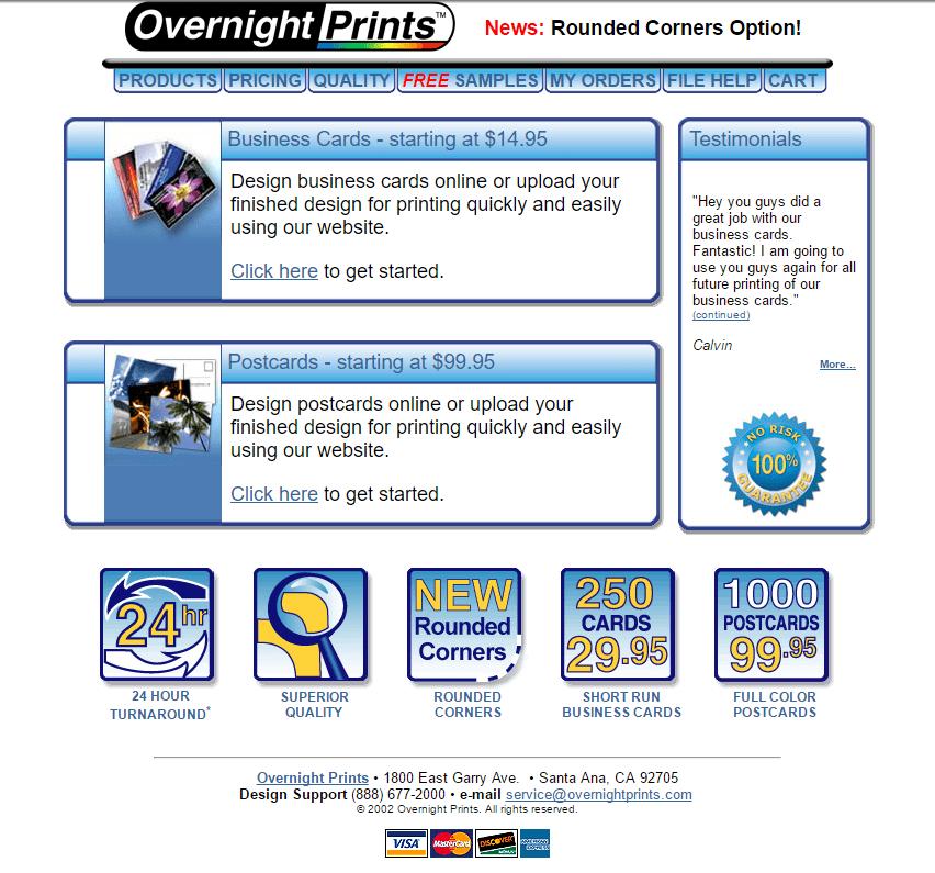 Original Overnight Prints website