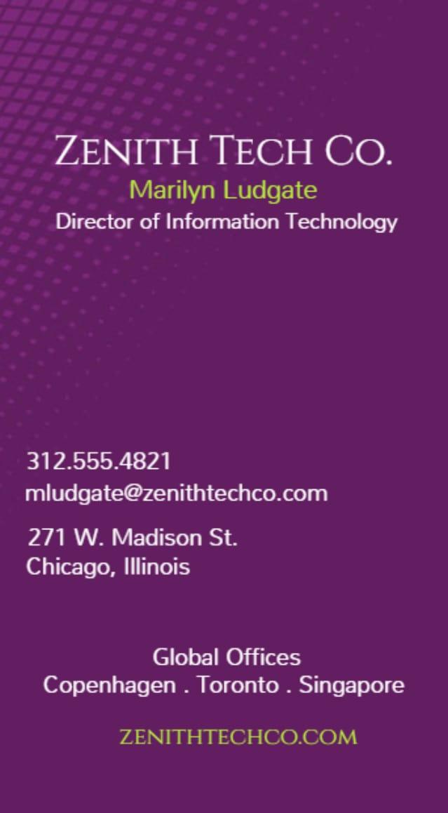Spot UV vertical business card