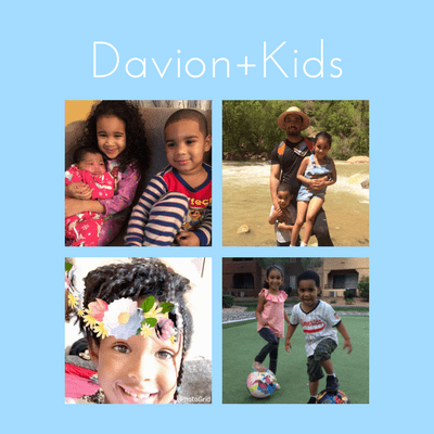 Photo collage of Davion & four kids