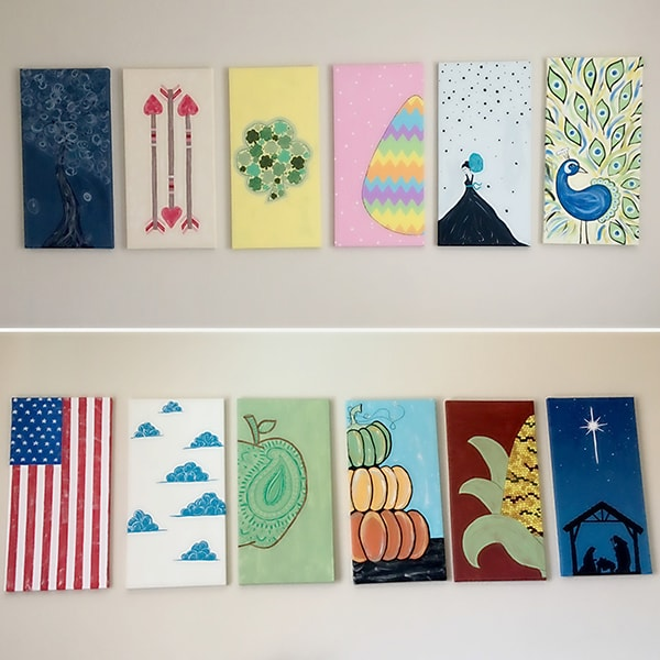 12 months of canvas paintings