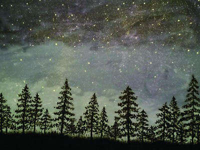 Trees at night painting