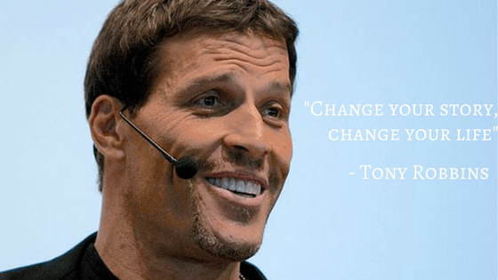 Close-up of life coach Tony Robbins at speaking engagement.