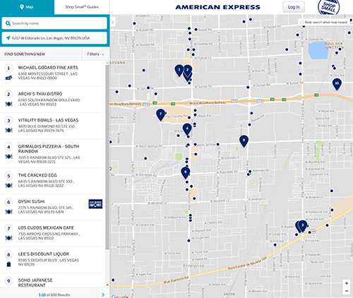 American Express Shop Small Map