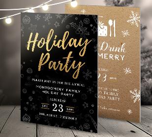 Holiday postcard invitations