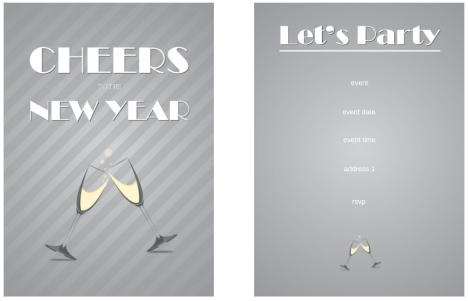 New Years Cheers 5x7 double sided postcard invitation template