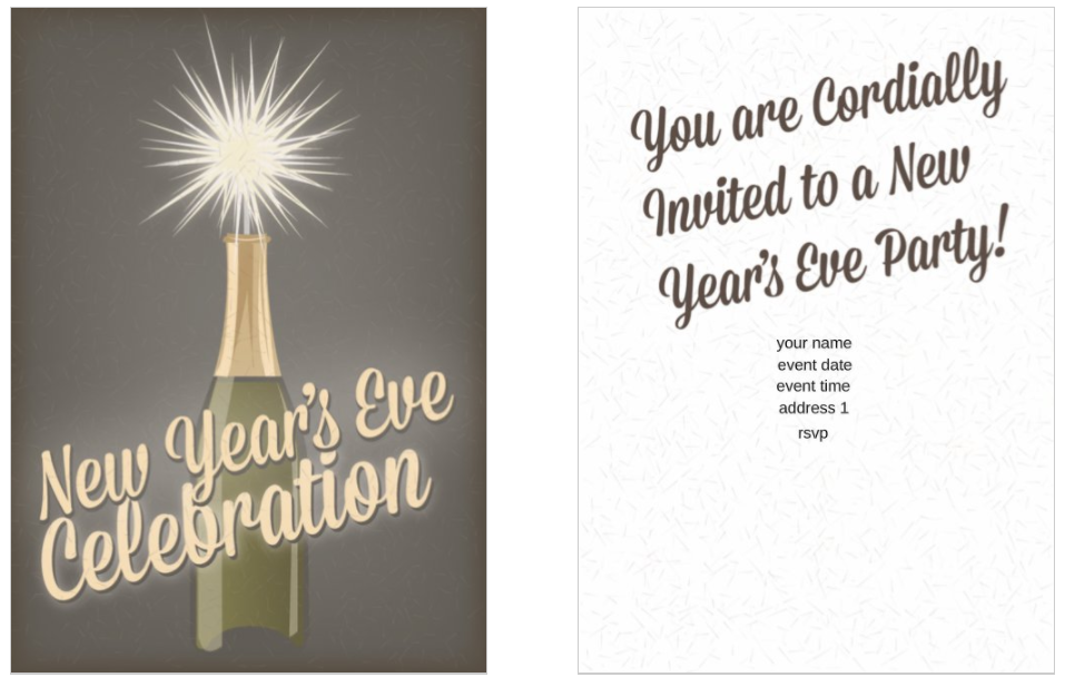 Sips and Sparkles New Years Party 5x7 postcard party invitation template
