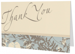 Beige floral Thank You greeting card