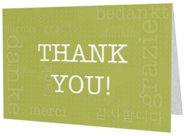 Green international Thank You greeting card