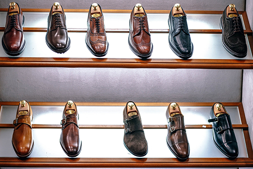 Dress shoes on display