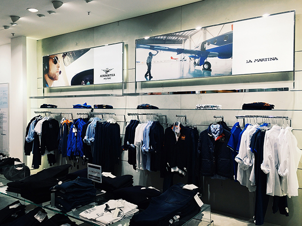 Lifestyle graphics at clothing store