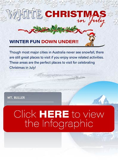Christmas in July down under, skiing in Australia celebration | infographic